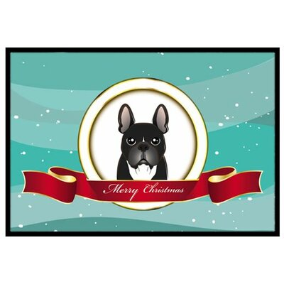 French Bulldog Merry Christmas Doormat Mat Size: 2 x 3