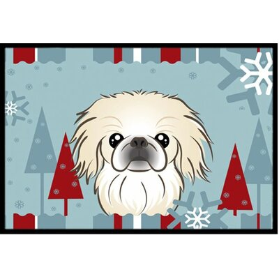 Winter Holiday Pekingese Doormat Rug Size: 16 x 23