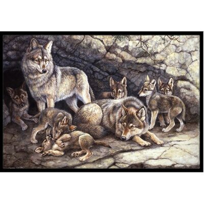 Wolf Wolves by the Den Doormat Mat Size: 2 x 3
