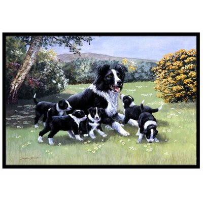 Border Collie Puppies with Momma Doormat Rug Size: 16 x 23