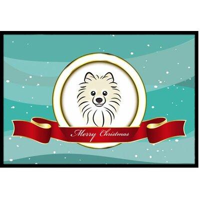 Pomeranian Merry Christmas Doormat Rug Size: 2 x 3
