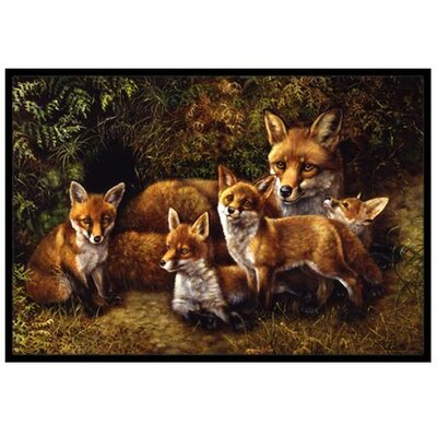 Fox Family Foxes Doormat Mat Size: 2 x 3