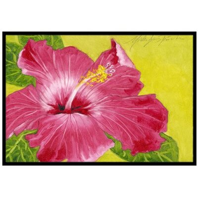 Hot Pink Hibiscus Doormat Mat Size: 16 x 23