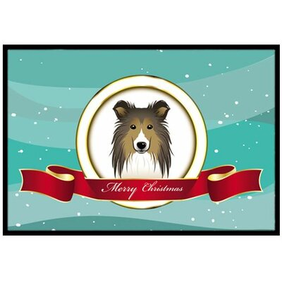 Sheltie Merry Christmas Doormat Mat Size: 2 x 3