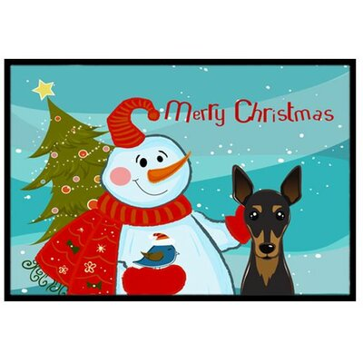 Snowman with Min Pin Doormat Mat Size: 16 x 23