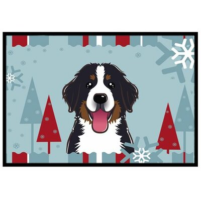 Winter Holiday Bernese Mountain Dog Doormat Mat Size: 16 x 23