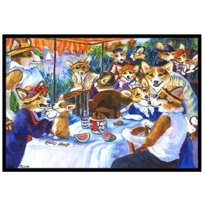 Corgi Boating Party Doormat Rug Size: 2' x 3'