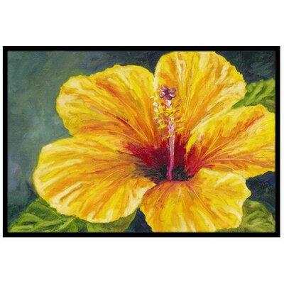 Yellow Hibiscus Doormat Rug Size: 2 x 3