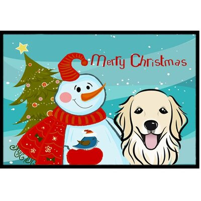 Snowman with Golden Retriever Doormat Rug Size: 16 x 23