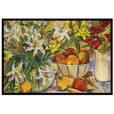 Fruit, Flowers and Vegetables Doormat Rug Size: 2 x 3