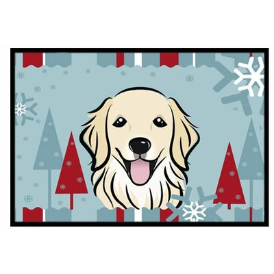 Winter Holiday Golden Retriever Doormat Rug Size: 2 x 3
