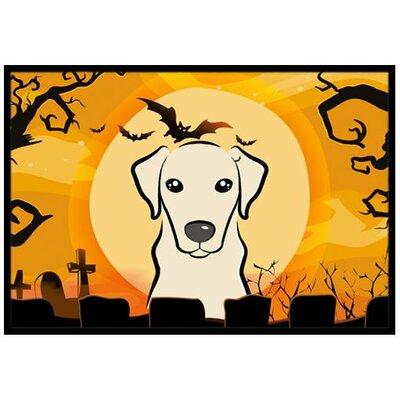 Halloween Yellow Labrador Doormat Rug Size: 16 x 23
