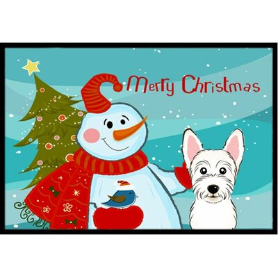 Snowman with Westie Doormat Mat Size: 2 x 3
