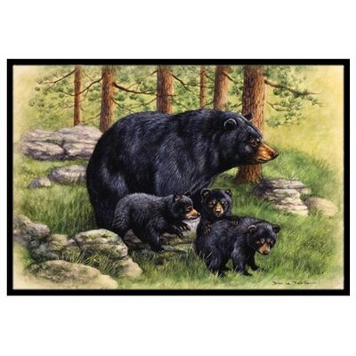 Black Bears Doormat Mat Size: 2 x 3