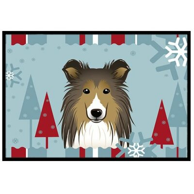 Winter Holiday Sheltie Doormat Mat Size: 2 x 3