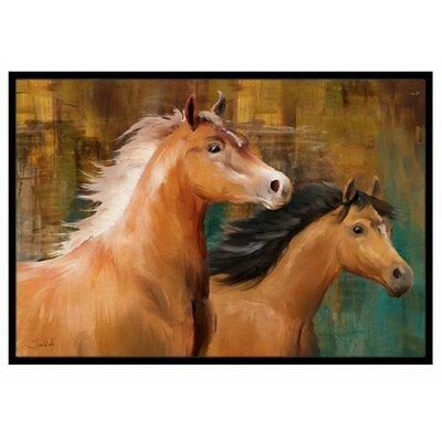 Horse Duo Doormat Rug Size: 2' x 3'