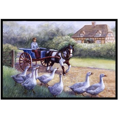 Geese Crossing before the Horse Doormat Rug Size: 2 x 3