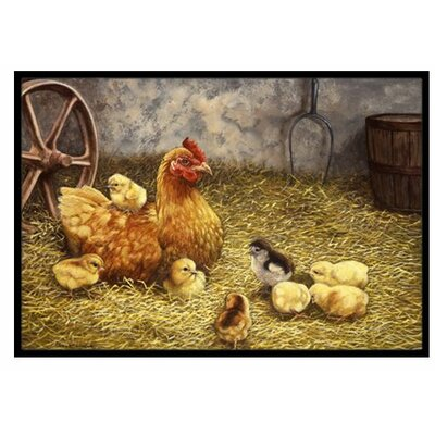 Chicken Hen and Her Chicks Doormat Rug Size: 16 x 23