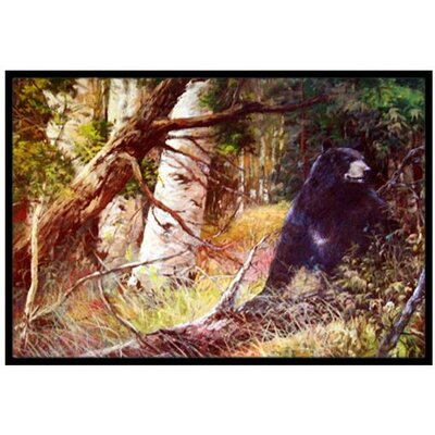 Are You There Mr. Black Bear Doormat Rug Size: 16 x 23