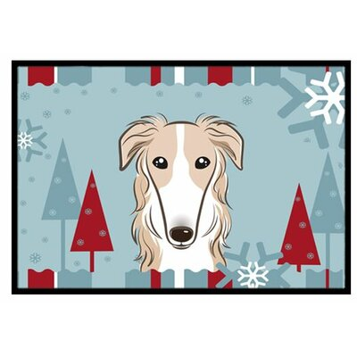 Winter Holiday Borzoi Doormat Mat Size: 16 x 23