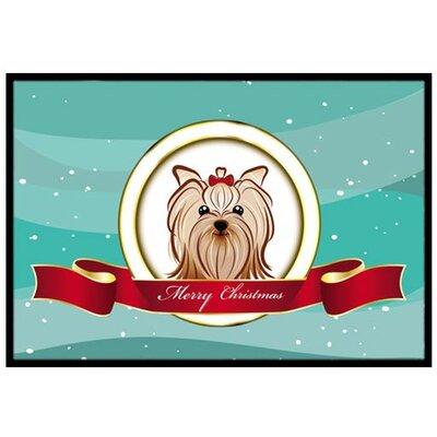Yorkie Yorkshire Terrier Merry Christmas Doormat Rug Size: 2 x 3