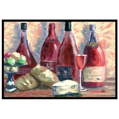 Wine and Cheese Doormat Mat Size: 2 x 3
