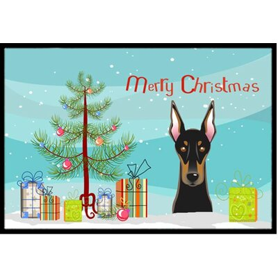 Christmas Tree and Doberman Doormat Mat Size: 2 x 3