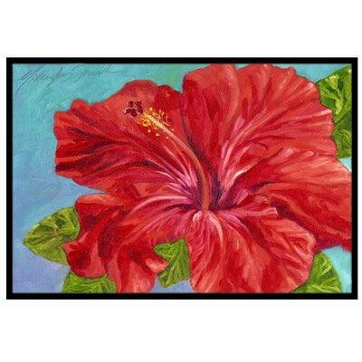 Red Hibiscus Doormat Rug Size: 2 x 3