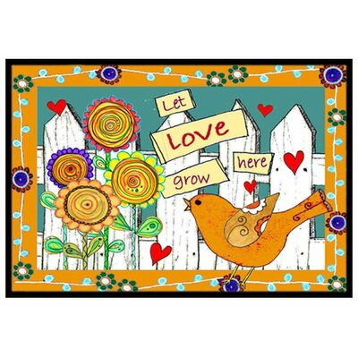 Let Love Grow Here Doormat Rug Size: 2 x 3