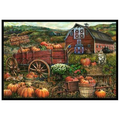 Pumpkin Patch and Fall Farm Doormat Rug Size: 2 x 3
