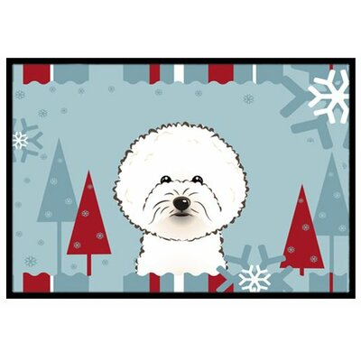 Winter Holiday Bichon Frise Doormat Rug Size: 16 x 23