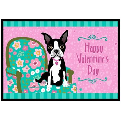 Happy Valentines Day Boston Terrier Doormat Mat Size: 2 x 3