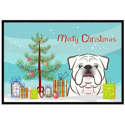 Christmas Tree and White English Bulldog Doormat Mat Size: 16 x 23