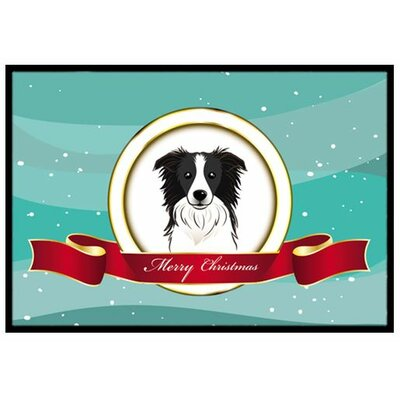 Border Collie Merry Christmas Doormat Rug Size: 2 x 3