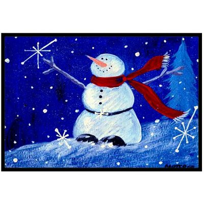Happy Holidays Snowman Doormat Mat Size: 16 x 23