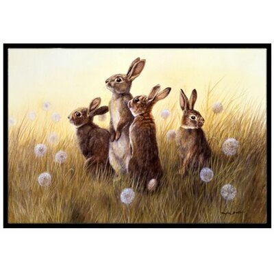 Rabbits in the Dandelions Doormat Mat Size: 2 x 3