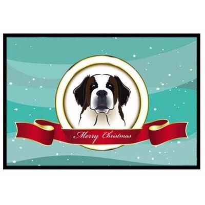 Saint Bernard Merry Christmas Doormat Rug Size: 2 x 3