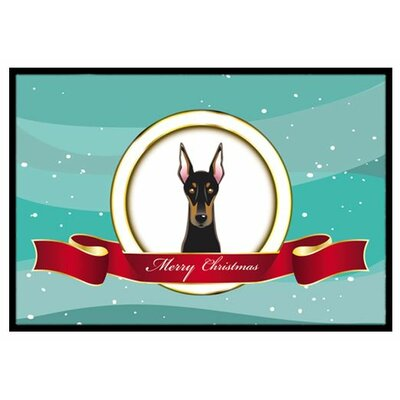 Doberman Merry Christmas Doormat Mat Size: 2 x 3