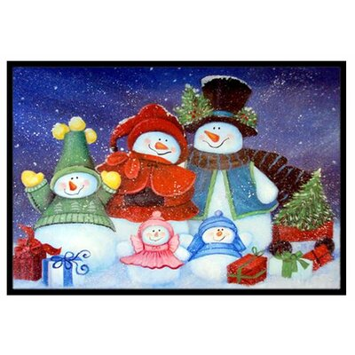Merry Christmas From Us All Snowman Doormat Mat Size: 16 x 23