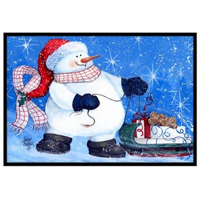 My Friends Can Ride Too Snowman Doormat Rug Size: 2 x 3