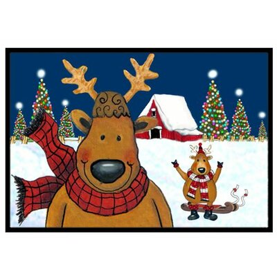 The Tree Famers Reindeer Christmas Doormat Rug Size: 16 x 23