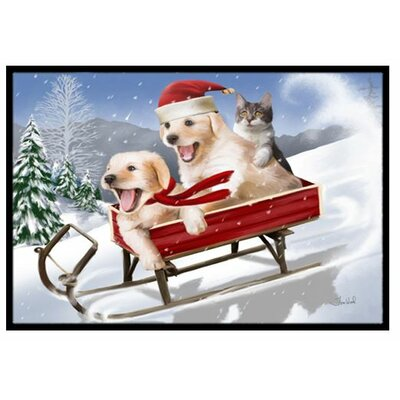 Dogs and Kitten in Sled Need for Speed Doormat Mat Size: 2 x 3