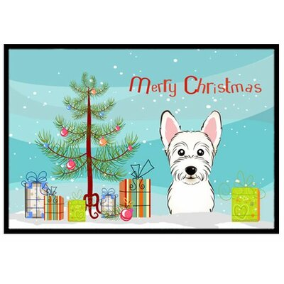 Christmas Tree and Westie Doormat Rug Size: 2 x 3