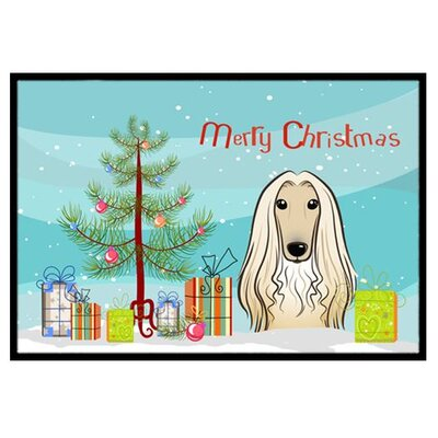 Christmas Tree and Afghan Hound Doormat Rug Size: 2 x 3