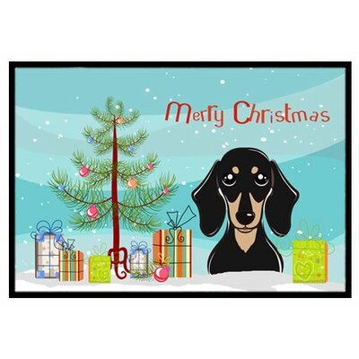 Christmas Tree and Smooth Black and Tan Dachshund Doormat Mat Size: 2 x 3