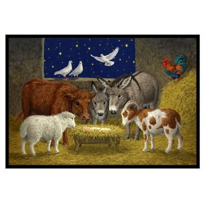 Animals at Crib Nativity Christmas Scene Doormat Mat Size: 2' x 3'
