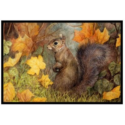 Grey Squirrel in Fall Leaves Doormat Mat Size: 2 x 3