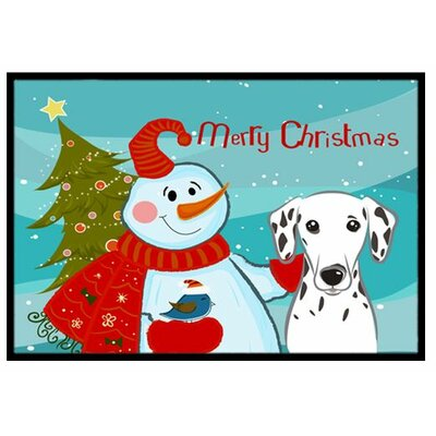 Snowman with Dalmatian Doormat Rug Size: 2 x 3