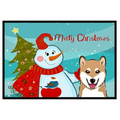 Snowman with Shiba Inu Doormat Rug Size: 16 x 23