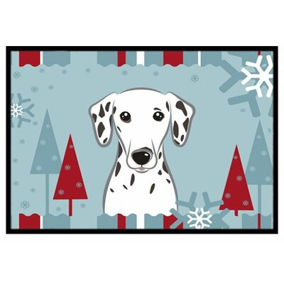 Winter Holiday Dalmatian Doormat Mat Size: 16 x 23